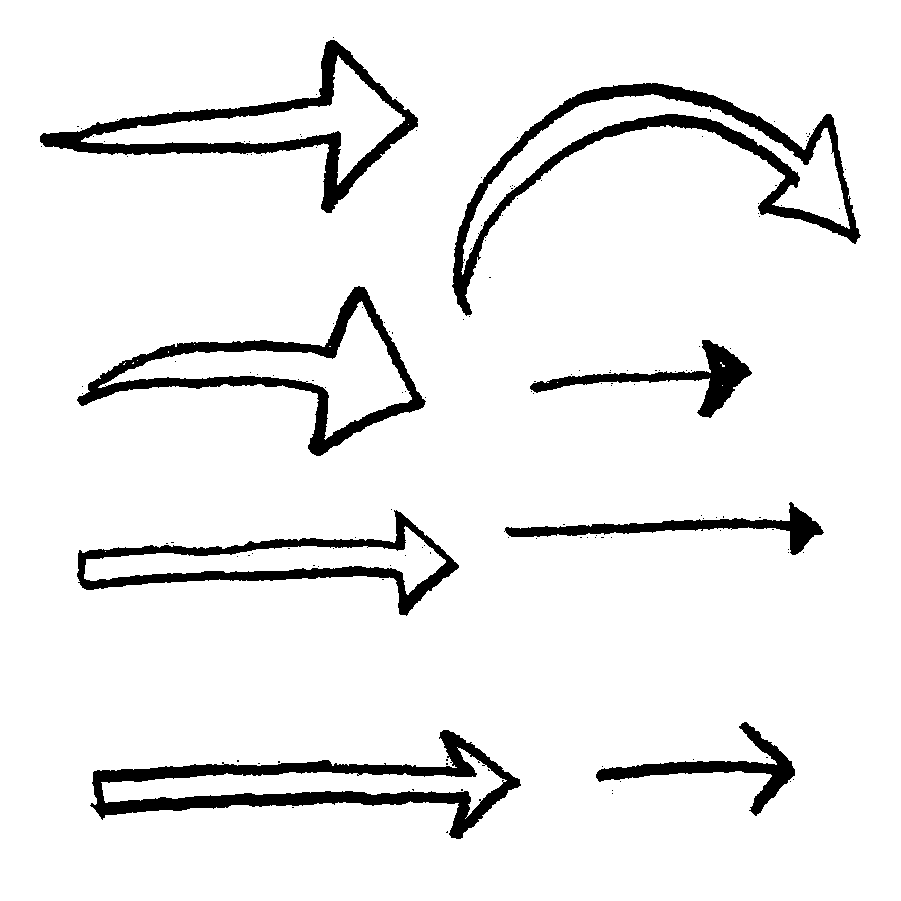 矢印詰め合わせ鉛筆イラストフリー素材