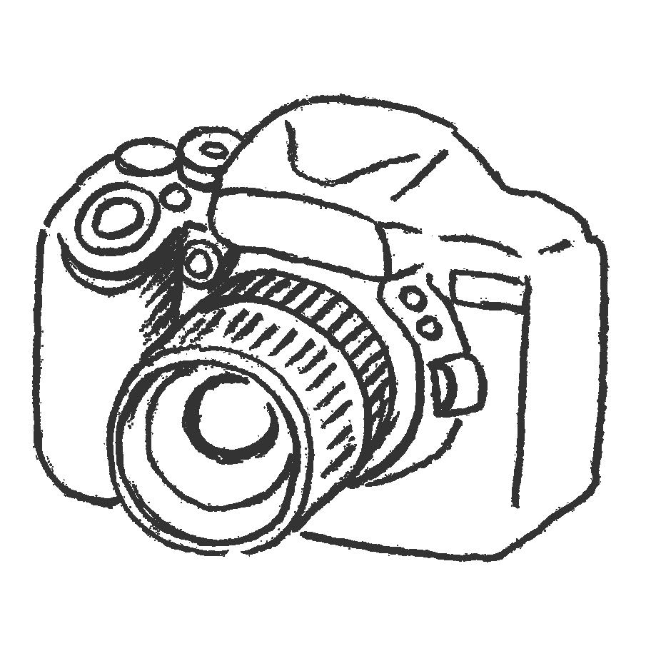 一眼レフカメラのフリー素材イラスト