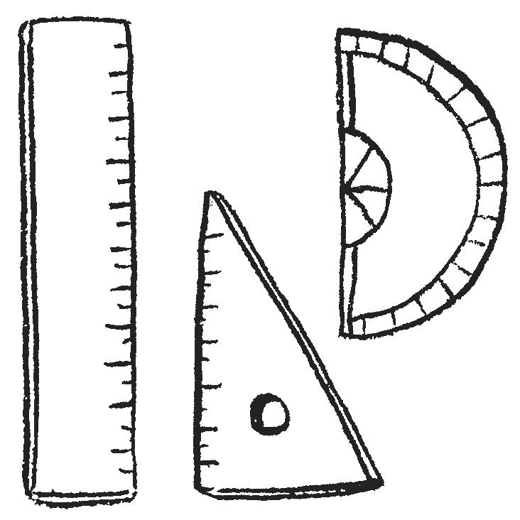 ものさし、三角定規、分度器のイラストフリー素材